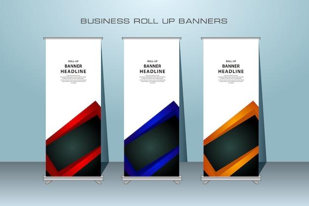 Kreatives rollupfahnendesign in der roten, blauen und orange farbe