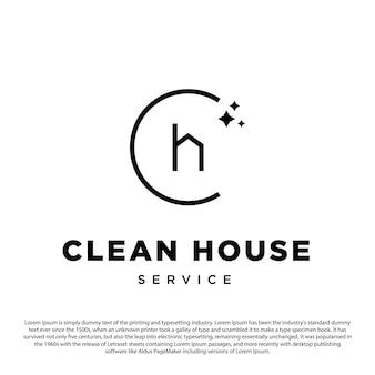 Kreatives sauberes hauslogo einfaches minimalistisches logo mit buchstabe c und minimalem vektorumriss des hauses