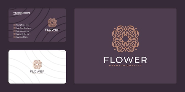 Kreatives schönheitsblumenlogo. luxusdesign und visitenkartenvorlage