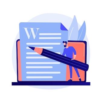 Kreatives schreiben von inhalten. texterstellung, blogging, internet-marketing. bearbeitung und veröffentlichung von artikeltexten. online-dokumente. schriftsteller, herausgeber charakter konzept illustration