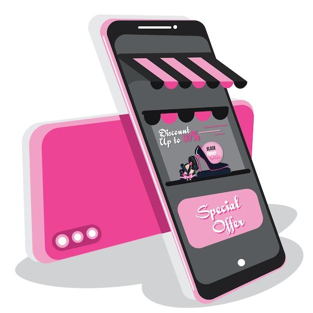 Kreatives schwarzes freitagszeichen des diskonts mit handtelefon. kauf von waren über eine online-shopping-anwendung auf seinem handy. konzept von online-shops, e-commerce und online-zahlung. flaches design