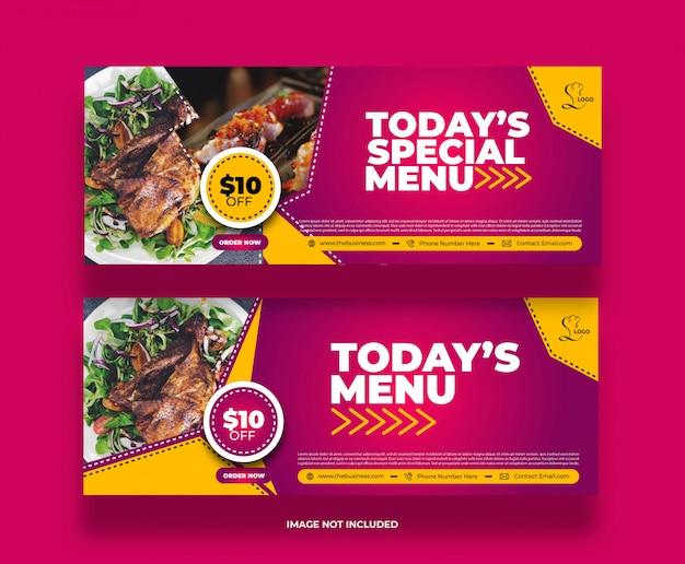 Kreatives spezielles menü restaurant food banner für social media