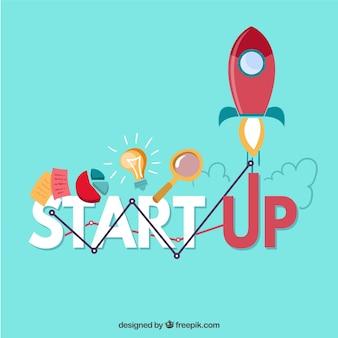 Kreatives start-up-konzept mit rakete