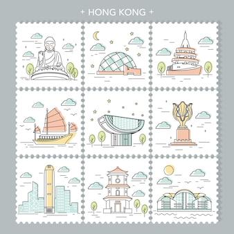Kreatives stempeldesign für hongkong reiseattraktionen