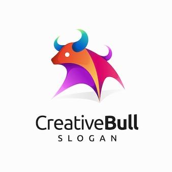 Kreatives stierlogo mit farbverlaufskonzept