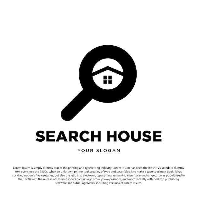 Kreatives suchhaus-logo-design-lupe mit haussymbol für ihr unternehmen oder ihre marke