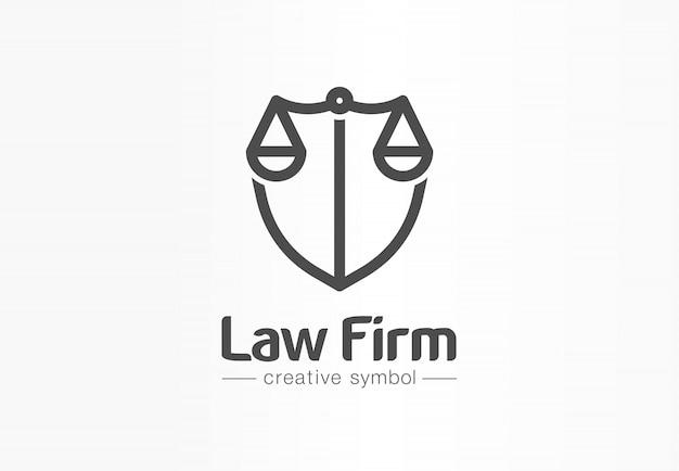 Kreatives symbolkonzept der anwaltskanzlei. anwaltskanzlei, recht, gerechtigkeit, schutz abstrakte geschäftslogo idee. waage und schild, anwaltssymbol