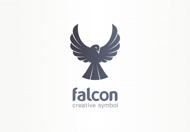 Kreatives symbolkonzept des falken, des phönix, der krähenschattenbild. freiheit, wachstum adlerflügel, fliegen abstrakte geschäftslogo idee. vogelflugikone.