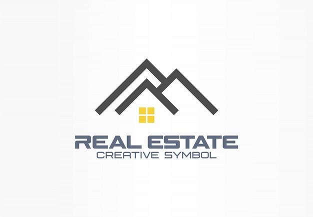 Kreatives symbolkonzept des immobilienmaklers. dach und licht auf fenster, haus, bauen abstrakte geschäftslogo-idee. miete hausarchitektur ikone