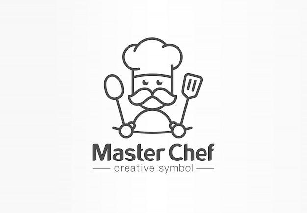 Kreatives symbolkonzept des meisterkochs. kochen sie schnurrbart und hut, kaffeemenü, restaurantküche abstraktes geschäftslogo. bäcker, löffel leckeres essen ikone