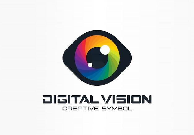 Kreatives symbolkonzept für digitales sehen, cyberauge, farblinse. ophthalmologie, sicherheit abstrakte geschäftslogo idee. spektrum, regenbogensymbol