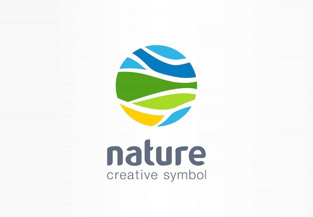 Kreatives symbolplanetenkonzept der natur. bio-bauernhoffeld abstraktes geschäftslandwirtschaftslogo. umweltfreundliche umgebung, frisches wasser, bio-lebensmittel-ikone.