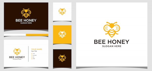 Kreatives symbolsymbol des bienenhonigs. logo-design, symbol und visitenkarte premium vector