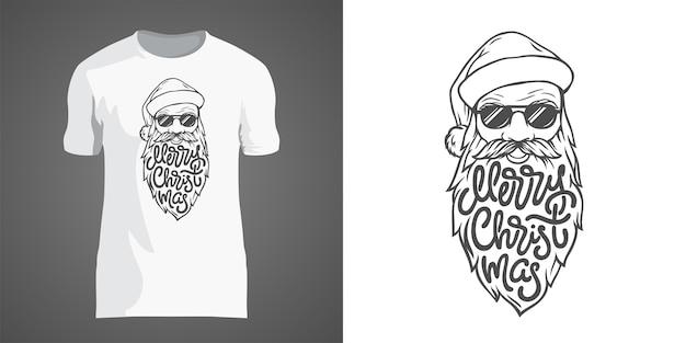Kreatives t-shirt design mit illustration des weihnachtsmanns in der sonnenbrille mit großem bart. schriftzug frohe weihnachten in form von bart. t-shirt design für neujahrsparty und weihnachtsferien.