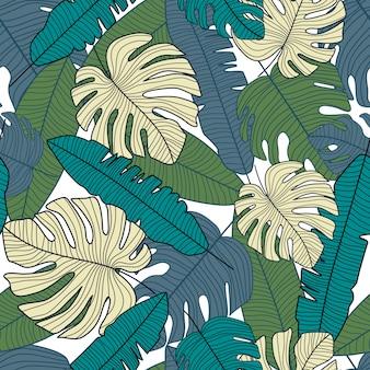 Kreatives tropisches muster, nahtloses muster des botanischen blattes.
