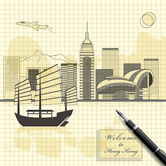 Kreatives victoria-hafen-landschaftsdesign im skizzenstil