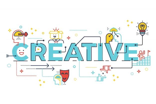Kreatives wort, das typografiedesignillustration mit linie ikonen und verzierungen im blauen thema beschriftet