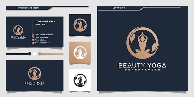 Kreatives yoga-logo-design mit menschlichem kombiniertem und blattkonzept premium vekto