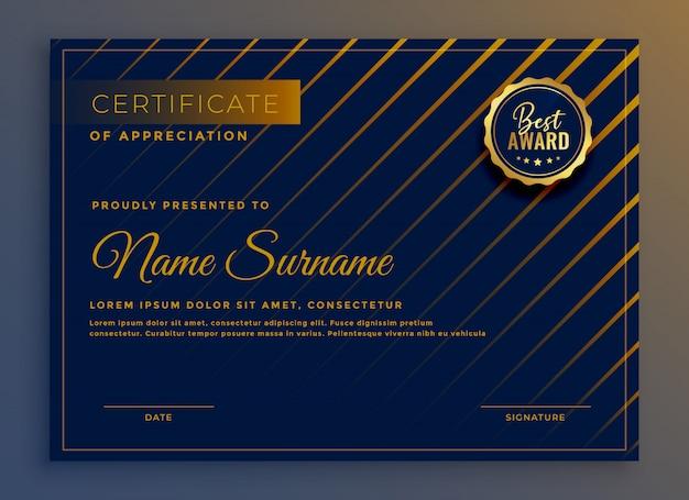 Kreatives zertifikat der anerkennungsschablonendesign-vektorillustration
