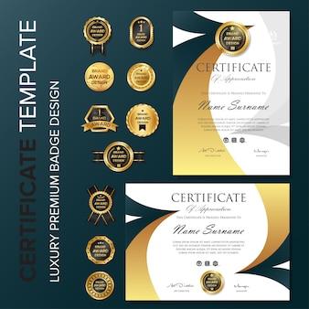 Kreatives zertifikat design mit abzeichen