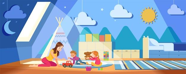 Kreativität der kinder. mutter und kinder spielen mit spielzeug im gemütlichen spielzimmer während der coronavirus-krise. konzept mutterschaft kindererziehung. bleib zu hause cartoon illustration