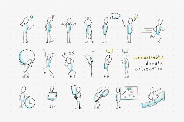 Kreativitäts-doodle-design-kollektion