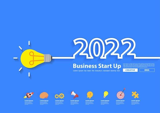 Kreativitätsglühbirne inspirationsideenkonzept des neuen jahres 2022, flaches kreatives design der vektorillustration