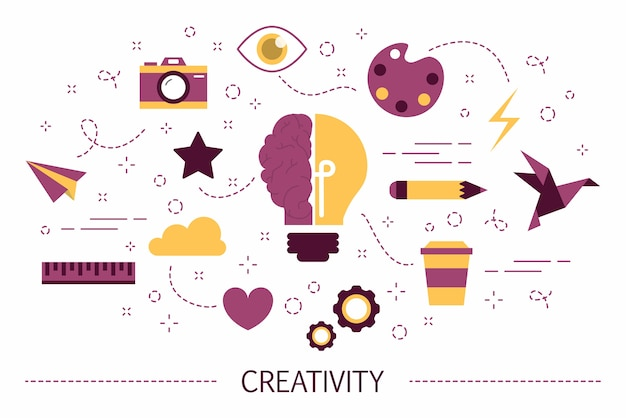 Kreativitätskonzept. idee des kreativen denkens und der generierung innovativer ideen. satz bunte symbole. illustration