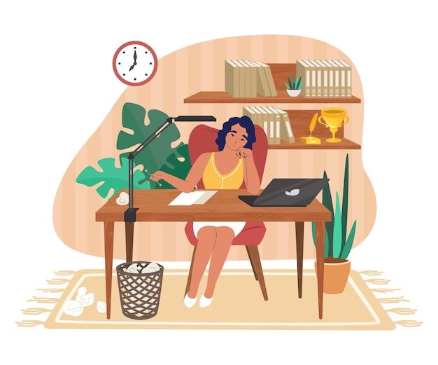 Kreativitätskrise. traurige, verwirrte, müde frau, schriftstellerin, die am schreibtisch mit sauberem blatt papier sitzt, flache vektorgrafik. kreative krise und burnout, depression, psychischer stress.