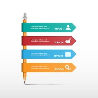 Kreativkonzept für infografik mit bleistift