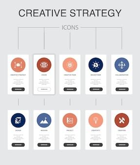 Kreativstrategie-infografik 10 schritte ui-design. vision, brainstorming, zusammenarbeit, projekt einfache symbole