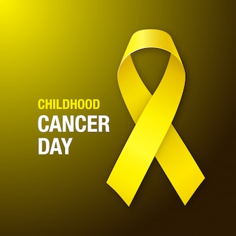 Krebs-tag bei kindern. gelbes band des kinderkrebsbewusstseins auf dunklem hintergrund.