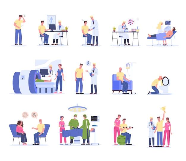 Krebsdiagnostik, behandlung und rehabilitation. krankenhausmedizinische therapie, männlicher charakter mit chemotherapie und operation. mann gewinnt einen krebs. illustration
