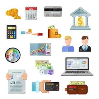 Kredit-rating-icons gesetzt