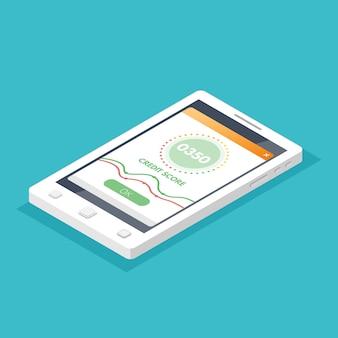 Kredit-score-app-anzeigen. illustration im flachen stil.