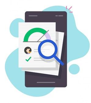 Kredit-score darlehen rating-bericht finanzscheck forschung online auf dem smartphone