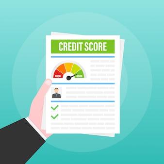 Kredit-score-dokument. papierblattdiagramm der persönlichen kredit-score-informationen.