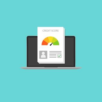 Kredit-score im laptop-stil