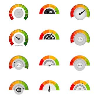 Kredit-score-indikatoren mit farbniveaus von schlecht bis gut. bankbericht kreditanwendungsrisiko aus dokument kreditgeschäft markt. rating kreditmesser gut und schlecht, indikator kredit.