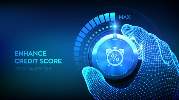 Kredit-score-knopf knopf erhöhen der kredit- oder hypothekendarlehen, die geschäftsillustration bewerten