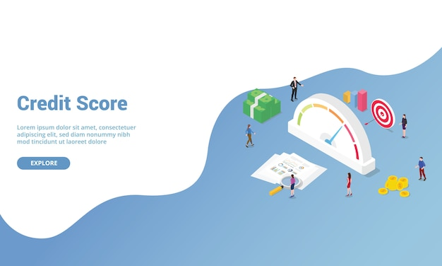 Kredit-score oder rating isometrisch für website-vorlage oder landing homepage banner