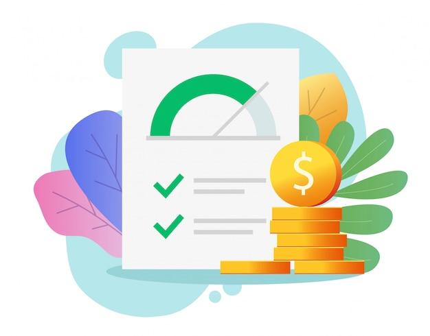 Kredit-score-rangbericht papierdokument mit geld