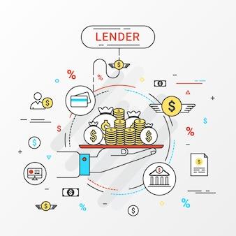 Kreditgeber-infografik-konzept