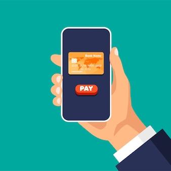 Kreditkarte auf einem telefondisplay