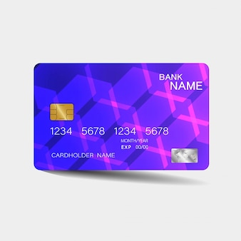 Kreditkarte. mit lila elementen desing. inspiration aus dem abstrakten. . glänzender plastikstil.