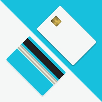 Kreditkarte mockup vektor-illustration leere geschäftsvorlage auf blauem hintergrund mit schatten