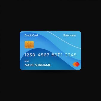Kreditkarten-design-vorlagen mit blauen farben und wellenmotiven
