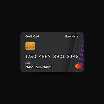 Kreditkarten-design-vorlagen mit dunklen farben und neon-rgb-motiven