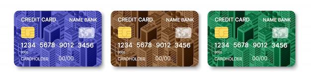 Kreditkarten festgelegt mehrfarbige vorlage