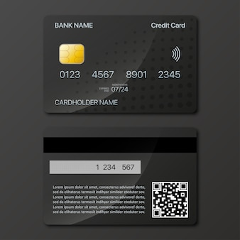 Kreditkarten-mockup-design vorne und hinten mit schatten